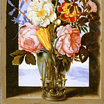 Part 5 Louvre - Ambrosius Bosschaert the Younger (1609-1645) -- Bouquet of Flowers in a Stone Window Frame Opening onto a Landscape