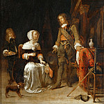 Part 5 Louvre - Gabriel Metsu -- Young Woman with a Military Visitor