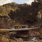 Eugenio Landesio -- Mountainous Landscape in Mexico with Donkey Carts Crossing a Bridge, Part 5 Louvre