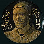 Self-portrait of Fouquet (), copper, blue enamel and gold. Only remaining piece of a diptych ordered for the church of Notre-Dame in Melun by Etienne Chevalier, secretary and counsellor to French king Charles VII. Diameter 6.8 cm-OA 56, Jean Fouquet