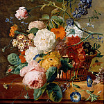 Basket of Flowers with Butterflies, Jan Van Huysum