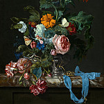 Willem van Aelst - Flower Still Life with a Timepiece, Mauritshuis