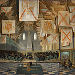 Bartholomeus van Bassen - Interior of the Great Hall on the Binnenhof in The Hague, during the Great Assembly of the States-General in 1651, Mauritshuis