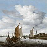 Salomon van Ruysdael - River Landscape with Sailing Boats and a Horse-Drawn Barge, Mauritshuis