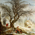 Gijsbrecht Leytens - Winter Landscape with Wood Gatherers, Mauritshuis