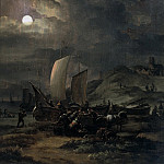 Egbert van der Poel - Fishing Boats on the Beach at Night, Mauritshuis