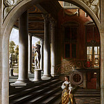 Samuel van Hoogstraten - Perspective View with a Woman Reading a Letter, Mauritshuis