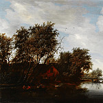 Salomon van Ruysdael - River View with a Man Hunting Ducks, Mauritshuis