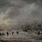 Aert van der Neer - Winter Landscape with Houses, Mauritshuis