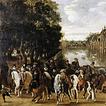 Pauwels van Hillegaert - The Princes of Orange and their Families on Horseback, Riding Out from The Buitenhof, The Hague, Mauritshuis