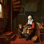 Abraham de Pape – Old Woman Plucking a Cock, Mauritshuis