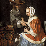 Mauritshuis - Frans van Mieris the Elder - Man and Woman with Two Dogs, ('Teasing the Pet')