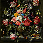Flowers in a Metal Vase, Abraham Mignon