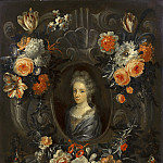 Mauritshuis - Jean Baptiste Morel (attributed to) - Portrait of a Lady Encircled by a Wreath of Flowers