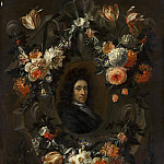Jean Baptiste Morel - Portrait of a Man Encircled by a Wreath of Flowers, Mauritshuis