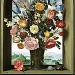 Nick Carter - Transforming Still Life Painting after Ambrosius Bosschaert the Elder, Vase With Flowers in a Window, 1618, Mauritshuis