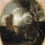 Antonio Francesco Peruzzini, Sebastiano Ricci - Landscape with a Hermit, a Pilgrim, a Peasant Woman and Other Figures, Mauritshuis