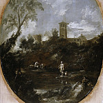 Antonio Francesco Peruzzini, Sebastiano Ricci - Landscape with Monks, a Pilgrim and a Peasant Woman, Mauritshuis