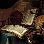 Jan Vermeulen - Still Life with Books, a Globe and Musical Instruments, Mauritshuis