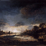 Aert van der Neer - River Landscape at Sunset, Mauritshuis