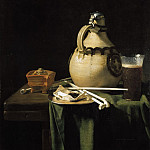 Pieter van Anraadt - Still Life with Earthenware Jug and Clay Pipes, Mauritshuis