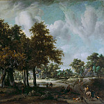 Meindert Hobbema - Wooded Landscape with Cottages, Mauritshuis