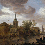 Jan van Goyen - River View with Church and Farmhouse, Mauritshuis