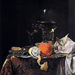 Willem Kalf - Still life with Fruit and Wineglasses on a Silver Plate, Mauritshuis