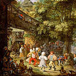 Mauritshuis - Roelant Savery - Peasants Dancing outside a Bohemian Inn