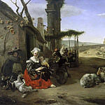 Jan Baptist Weenix - Italian Landscape with Inn and Ancient Ruins, Mauritshuis