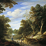 Alexander Keirincx, Cornelis van Poelenburch - Wooded Landscape with Figures, Mauritshuis