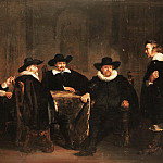Thomas de Keyser - The Four Burgomasters of Amsterdam Learning of the Arrival of Maria de' Medici on 1 September 1638, Mauritshuis