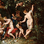Jan Brueghel the Elder, Peter Paul Rubens - Nymphs Filling the Cornucopia, Mauritshuis