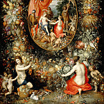 Jan Brueghel the Elder, Hendrik van Balen - Garland of Fruit surrounding a Depiction of Cybele Receiving Gifts from Personifications of the Four Seasons, Mauritshuis