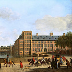 Gerrit Adriaensz Berckheyde - A Hunting Party near the Hofvijver in The Hague, Seen from the Buitenhof, Mauritshuis