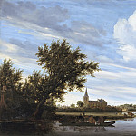 Salomon van Ruysdael - River View with Church and Ferry, Mauritshuis