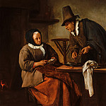 Jan Steen - An Old Couple Making Caudle, Mauritshuis