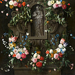 Daniel Seghers, Thomas Willeboirts Bosschaert - Garland of Flowers surrounding a Sculpture of the Virgin Mary, Mauritshuis