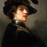 Rembrandt van Rijn - 'Tronie' of a Man with a Feathered Beret, Mauritshuis