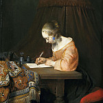 Gerard ter Borch - Woman Writing a Letter, Mauritshuis
