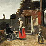 A Man Smoking and a Woman Drinking in a Courtyard, Pieter de Hooch