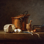 Still Life with Copper Pot, Cheese and Eggs, Jean Baptiste Siméon Chardin