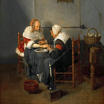 Quiringh van Brekelenkam - An Old Woman Bleeding a Young Woman, known as 'The Bloodletting', Mauritshuis