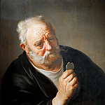 Old man with broken mirror, Jacob Adriaenszoon Backer