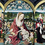 Jacob Cornelisz van Oostsanen - Mary with Child and angels making music with prayer portraits of Sampsons-Coolen family, Part 4