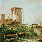 Boucher, Francois - Landscape with tower and bridge, Part 4