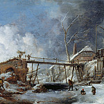 Philips Wouwerman - Winter landscape with wooden bridge, Part 4