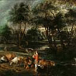 Rubens - Landscape with Cows and Wildfowlers, Part 4