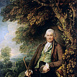 Portrait of Mr. John Wilkinson in the park under a tree sitting, Thomas Gainsborough