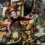 Pieter Aertsen - Market woman at the vegetable stand, Part 4